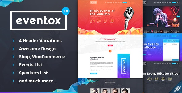 Eventox | Event Concert & Conference PSD Template - Events Entertainment