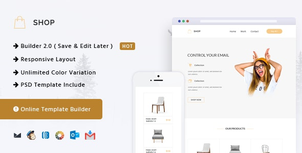 Shop - Responsive Email + Online Template Builder - Newsletters Email Templates