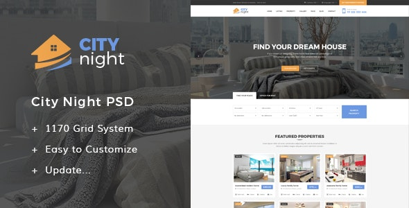 CityNight - Real Estate PSD Template - Business Corporate