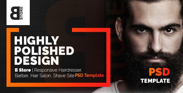 B Store Responsive Barbers Hair Salons Psd Template Clean And Smart By Wpfruits