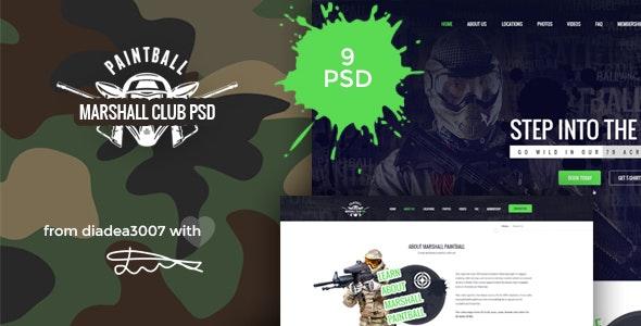 Marshall - Paintball Club PSD Template - Creative Photoshop