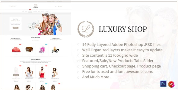 Luxury Shop eCommerce PSD Template - Shopping Retail