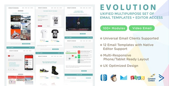 Evolution - UXified Multipurpose Set of Email Templates + Online Editor - Email Templates Marketing