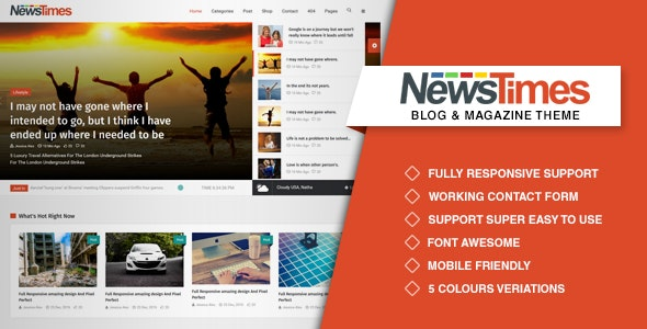NewsTimes- A News and Magazine Template - Entertainment Site Templates