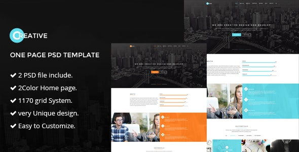 Creative | one page psd Template - Portfolio Creative