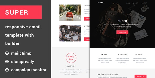 Super - Resposive Email Template with Builder - Newsletters Email Templates