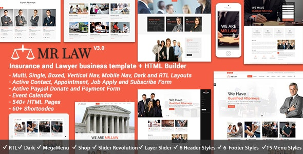 MrLaw - Lawyer Attorney HTML - Business Corporate