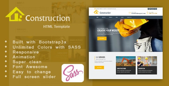 Construction -  Construction, Building & Maintenance Business  HTML5 Template - Business Corporate