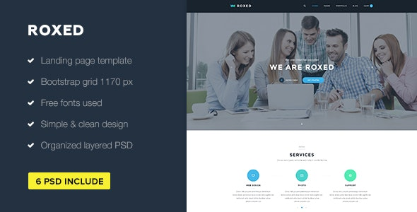 Roxed — Landing Page PSD Template - Photoshop UI Templates