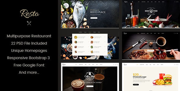Resto | Multipurpose Restaurant & Cafe PSD Template - Restaurants & Cafes Entertainment