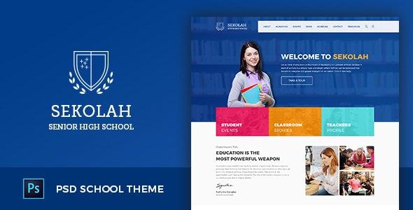 Sekolah - Senior High School Template PSD - Photoshop UI Templates