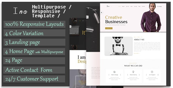 Ina - Responsive Multipurpose Corporate, Business & Portfolio Template - Business Corporate