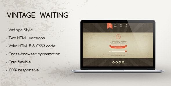 Vintage Waiting - Coming Soon HTML5 Template - Under Construction Specialty Pages
