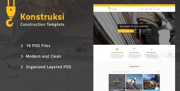 Konstruksi - Construction and Building PSD Template - Corporate PSD Templates