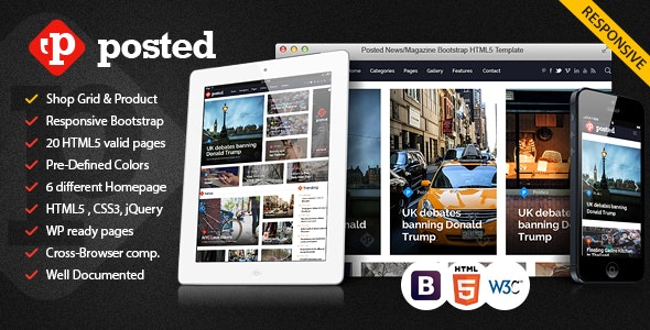 Posted News/Magazine Bootstrap HTML5 Template - Entertainment Site Templates