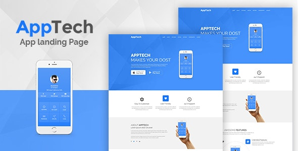 AppTech - App Landing PSD Template - Hosting Technology