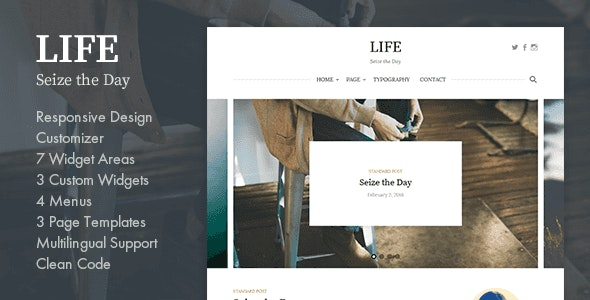 Life - Simple WordPress Blog Theme - Personal Blog / Magazine
