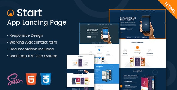 Start - App Landing Page HTML Template  - Marketing Corporate