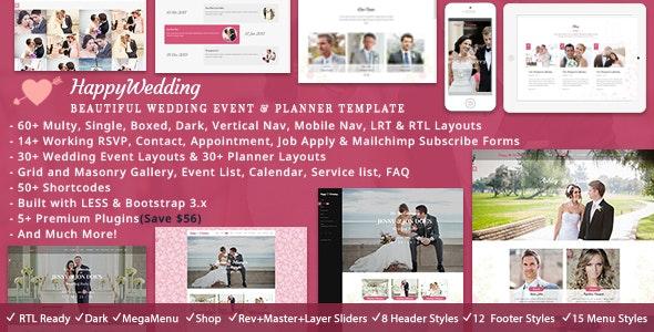 Happy Wedding HTML - Wedding Site Templates