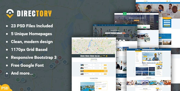Directory - Multipurpose Listings PSD Template - Photoshop UI Templates