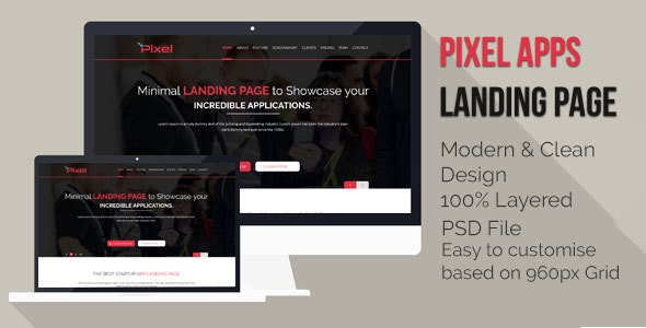 App Landing Page PSD - Photoshop UI Templates