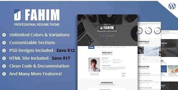 Hired - Professional Resume WordPress Template - Portfolio Creative