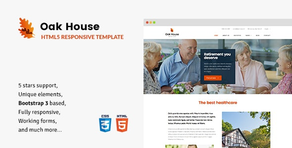 Oak House - Senior Care, Retirement, Rehabilitation Home HTML5 Template - Health & Beauty Retail