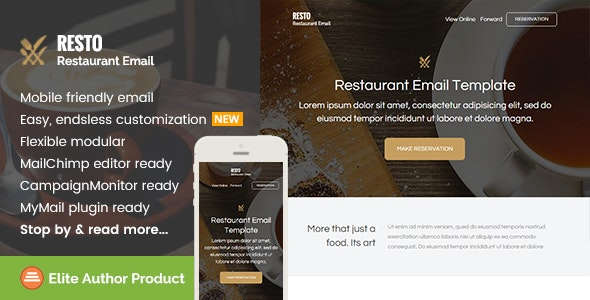 Resto, Restaurant Email Template + Builder Access - Email Templates Marketing