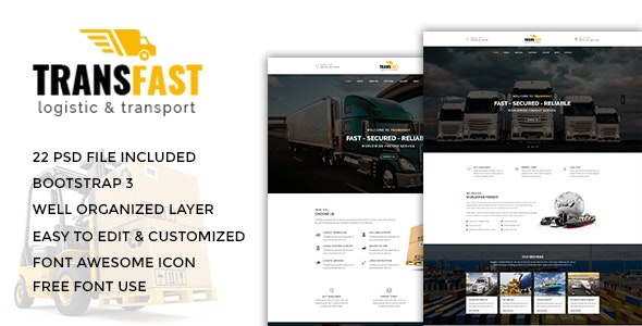 Transfast - Logistic and Transport PSD Template - Business Corporate