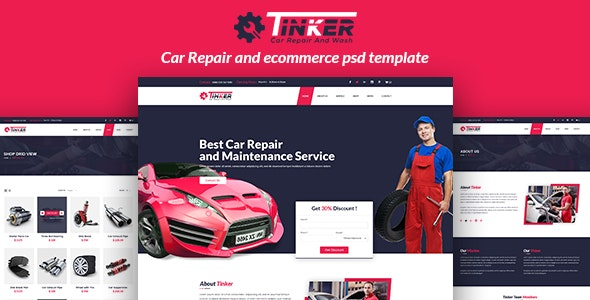 Tinker - Car Repair and eCommerce PSD - Retail Photoshop