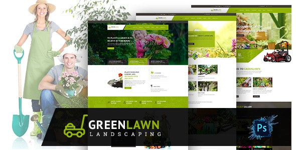 GREENLAWN- Gardening and Landscaping PSD Template - Business Corporate