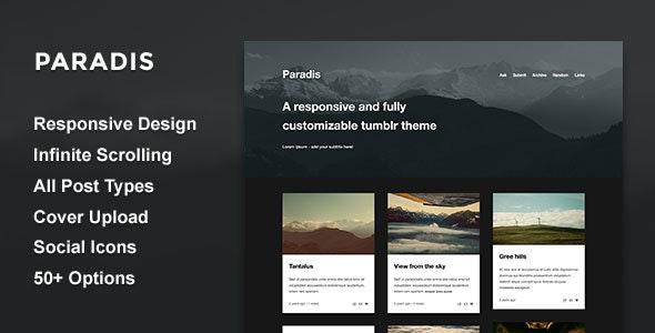 Paradis - A Minimalistic Grid Theme - Blog Tumblr