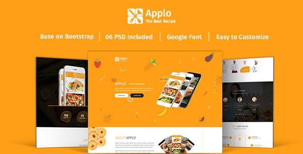 Applo - Onepage PSD Template For Recipe Application Landing Page - Food Retail