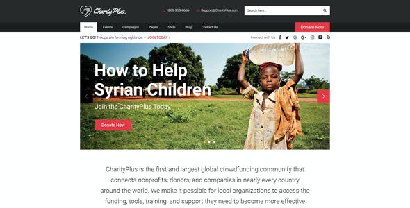 CharityPlus - Multipurpose Nonprofit Charity Organization PSD Template