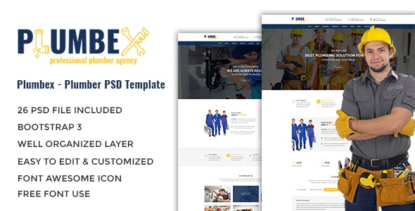 Plumbex - Plumbers PSD Template - PSD Templates