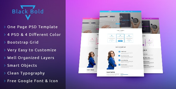 Black Bold One Page PSD Template - Photoshop UI Templates