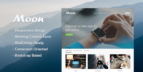 Moon Responsive Lead Generating Landing Page - Business Corporate