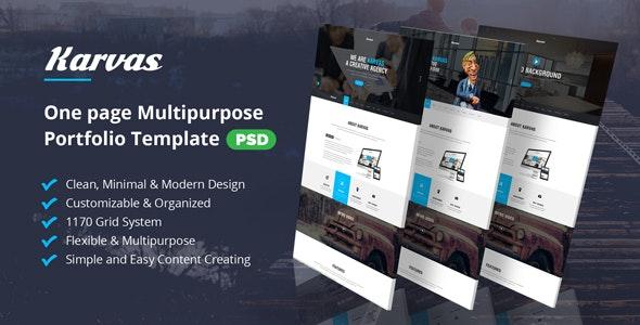 Karvas - One page Multipurpose Portfolio PSD - Portfolio Creative