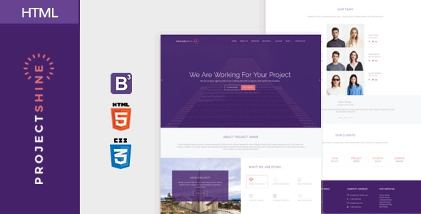 Project Shine - Bootstrap Responsive Onepage HTML Template - Creative Site Templates