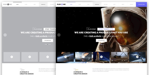 PLEIONE - Creative One Page Landing PSD Template - Creative Photoshop