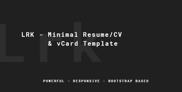 LRK - Creative vCard Template - Virtual Business Card Personal