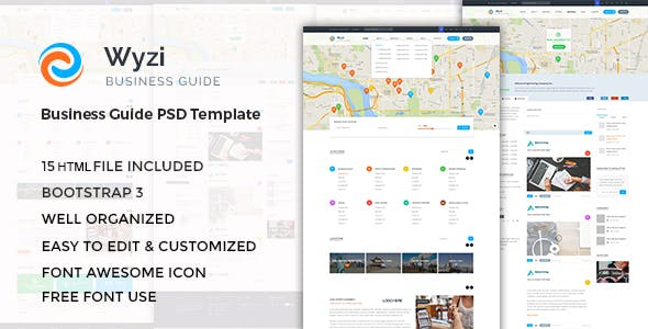 WYZI - Responsive Business Directory with Social Media Look HTML Template