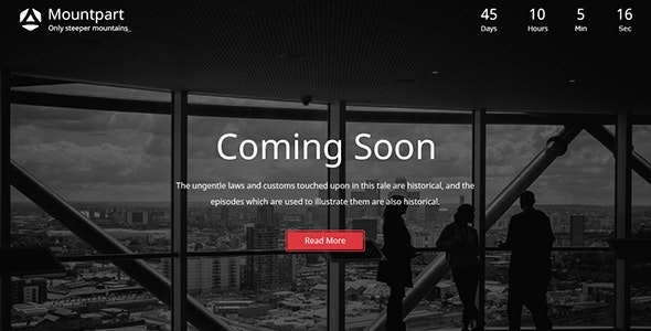 Mountpart — Coming Soon HTML5 Template - Under Construction Specialty Pages