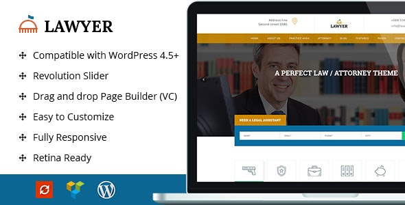 A Lawyer - Lawyer WordPress Theme - Business Corporate
