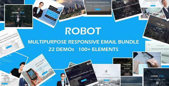 ROBOT - Multipurpose Responsive Email Bundle with Online Stamp Ready Builder Access - Email Templates Marketing