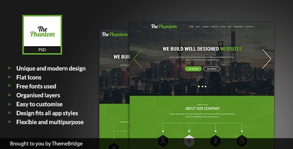 ThePhantom - Landing Page PSD Template - Marketing Corporate