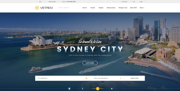 Vetrov - Hotels, Tours & Travel PSD Template
