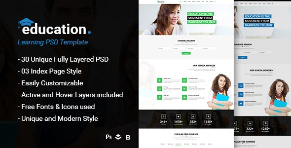 Education - Learning Bootstrap PSD Template - Corporate Photoshop