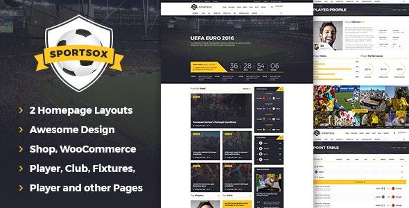 Sportsox | Sport Team Clubs PSD Template - Entertainment PSD Templates