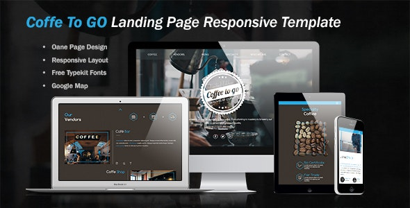 Coffe To Go Landing Page - Landing Muse Templates